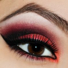 A huge selection of eye makeup tips, videos and eye makeup tutorials, learn how to apply eyeliner and eyeshadow using step by step or how to's from top make up professionals. Red Eye Makeup, Red Eyeshadow, Smokey Eye Makeup, Eyeshadow Looks, Hair Makeup, Punk Makeup, Lady Bug Makeup, Red And Black Eye Makeup, Red Eyeliner