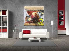 Original Colorful Modern Wall Art / Mixed Media Colorful Oil Painting on Canvas…