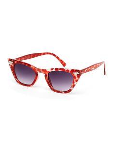 Sonnenbrille im Katzenaugen-Stil von ASOS Collection farbiges Gestell mit Stäbchen in den Ecken geformte Nasenpolster für zusätzlichen Komfort abgestuft getönte Gläser schmale Bügel mit abgerundeten Enden für einen sicheren Sitz voller UV-Schutz