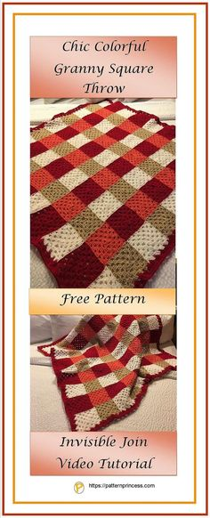 This chic colorful granny square throw has a modern look and it was so much fun to make. Full directions for the pattern, plus a video tutorial and step-by-step instructions on how to join granny squares using the invisible joining method. https://patternprincess.com #crochet #pattern #DIY #howto #tutorial #yarn #grannysquare #throw #afghan #handmade #DIY #freepattern