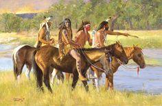 indian horses by Sherry Blanchard Stuart kK Native American Warrior, Native American Wisdom, American Spirit, Native American Indians, Plains Indians, Native American Paintings, Indian Paintings, Cool Paintings, Tribal Images