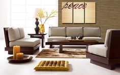 Faux Bamboo Peace - Large Canvas Art, 3 Panel, Triptych, Natural, Peaceful, Zen, Love, Office, Home, Decor, READY TO HANG
