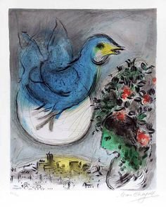 "SOLD: Marc Chagall (1887 – 1985)  ""L'Oiseau Bleu (The Bluebird)"" (1968)  Color Lithograph on Arches paper.  Private Collection, Switzerland. www.robinrile.com"