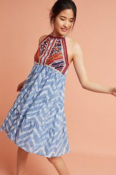 Raga Tiered & Embroidered Tie-Dye Dress