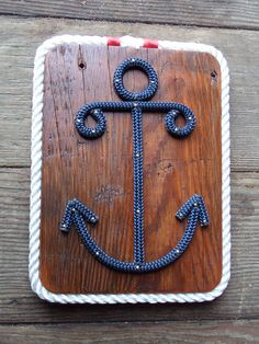 Anchor Sign Nautical Red White Blue Sailors Anchor Plaque Great for Nautical Nursery on Etsy, $40.00