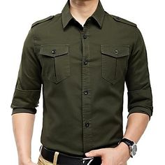 Homens de estilo militar Epaulettes Lazer camisas de mangas compridas – BRL R$ 90,47