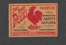 Ancienne étiquette allumettes  Danemark  NN207 The Red Pollo Coq