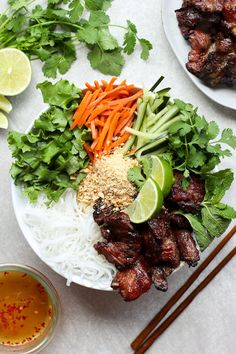 Vietnamese Noodle Bowl with Grilled Pork - A healthy, delicious and fresh Asian recipe, perfect for a light dinner in! Vietnamese vermicelli noodle bowl topped with grilled pork, veggies and garnishes, served with a flavor bursting sauce. Pork Recipes, Cooking Recipes, Healthy Recipes, Healthy Vietnamese Recipes, Vietnamese Salad Recipe, Pudding Recipes, Grilling Recipes, Chicken Recipes, Dessert Recipes