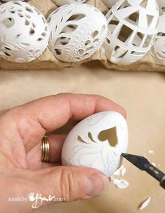 Crazy Carved Easter Eggs – Made By Barb – DIY faux eggs look drilled and lacy – Gift Ideas Plastic Easter Eggs, Easter Egg Crafts, Bunny Crafts, Egg Shell Art, Carved Eggs, Easter Egg Designs, Egg Art, Egg Decorating, Mason Jar Crafts