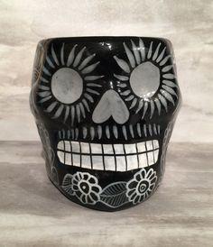Black Day Of The Dead Ceramic Skull Mug by MoonAndSunArtShop on Etsy