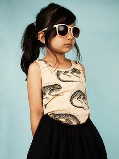 Lizard tank from Mini Rodini Fashion Kids, Little Fashion, Fashion 2018, Amusement Enfants, Little Girl Hairstyles, Trendy Hairstyles, Girls Hairdos, Trends, Kid Styles