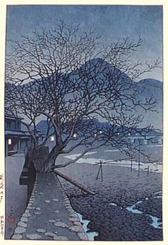 hanga gallery . . . torii gallery: Evening at Beppu by Kawase Hasui