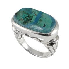 Sterling Silver Ring with Cushion Chrysocolla Stone (BTS-NRB6623/CRY/R) - Size 12. Made from quality .925 sterling silver. Stylish design. 30 day satisfaction guarantee.