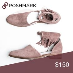 Freda Salvador Dash Coming soon! Pink suede d'orsay flat with removable ankle fringe Freda Salvador Shoes