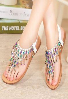 Unique Color Rhinestone  Flat Sandals