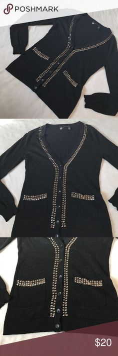 """BKE Shimmer V Neck Black Studded Cardigan 26.5"""" length 18"""" armpit to armpit. Black lightweight shimmer Cardigan. V Neck style. Has Studded detailing around the collar, down the front and near the pockets for styling. Has spacing on the beading on the back. Bundle 2+ items for a discount. BKE Sweaters Cardigans"""