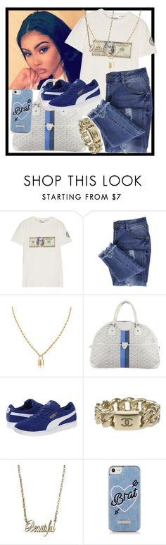 """Bored"" by theonlydej ❤ liked on Polyvore featuring Opening Ceremony, Essie, Goyard, Puma, Chanel and Skinnydip"