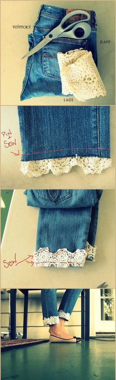 I could do this to my skirts   -   DIY LACE JEANS - good way to use those jeans that are too short - cute for summer with sandals