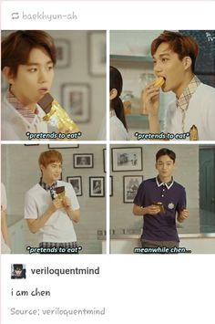 XD GOOD JOB CHEN! Chen be the only one eating