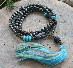 Beautiful hematite gemstone mala necklace by look4treasures