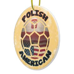 Polish American #Soccer Ball Ornament. For more holiday ornaments, please check out my store: www.zazzle.com/celticana*/ #ChristmasOrnaments #ChristmasDecorations #Zazzle #Polonia