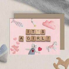 It's A Girl Announcement Card Downloadable Prints image 0 Its A Girl Announcement, Announcement Cards, Scrabble Wedding, Scrabble Tile Art, 30th Birthday Cards, Yoga Decor, Girl Sign, Printable Cards, Printing Services