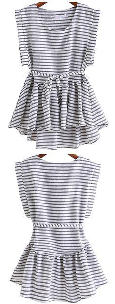 Black White Round Neck Style Striped Dip Hem Top