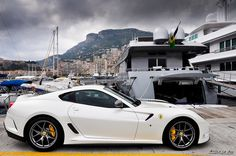 599 GTO....in white....at Monaco. HECK YEAH PAINT THAT BAD BOY BLACK WITH GOLD AND SILVER FLAMES. IT WOULD BE BAD ***