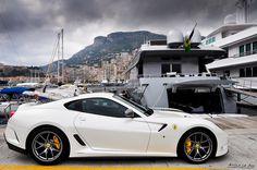 599 GTO....in white....at Monaco.