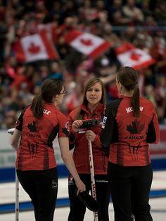 Saint John World Woman's Curling Championship,Canada skip Rachel Homan,third Emma Miskew,second Alison Kreviazuk,lead Lisa Weagle. Saint John, Curling, Sports Women, Burns, Third, Saints, Lisa, Canada, Female