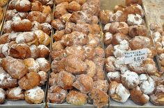"""Venetian Frittelle (for Carnival), """"doughnuts"""" filled with pastry cream, zabajon and nutella."""