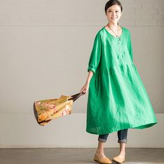 Art Loose Cotton Linen Dress Tops Women Clothes Q3912A