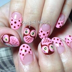 Another Owl Request by cynfulnails Owl Nail Art, Owl Nails, Animal Nail Art, Nail Polish Art, Creative Nail Designs, Beautiful Nail Designs, Cute Nail Designs, Creative Nails, Funky Nails
