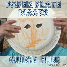 Quick paper plate masks for kids to make