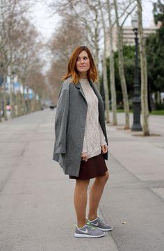 leather skirt, burgundy skirt, grey coat, nike rosherun, selfdressed, redhaired, streetstyle, sporty chic,