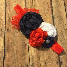 Custom order navy red and white headband Baby girl