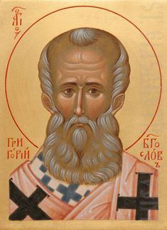 painted icon of st gregory the theologian