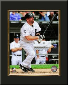One 8 x 10 inch Chicago White Sox photo of Paul Konerko inserted in a gold slide-in frame and mounted on a 10 x 13.5 inch solid black finish plaque.  $29.99 @ ArtandMore.com