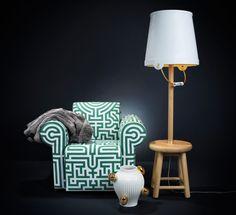 De emmer maakt de lamp verrassend en speels!