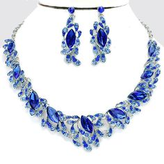 Vintage Style Fabulous RHODIUM & BLUE Rhinestone Costume Necklace/Earring Set #SophiaCollection