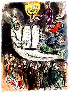 The Little House Lovers Lane, Dallas is searching for beautiful Jewish symbols for its honoring of Sacred Truths as Jewish icons...won't this be perfect?  Moses Shows the Elders the Tablets of the Law CHAGALL - Exodus 19:7