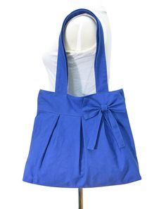 blue cotton fabric purse / tote bag / shoulder bag / by Markfabric, $28.00