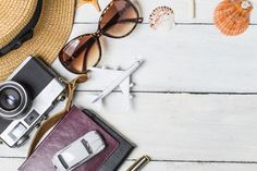 Summer holiday background, beach accessories on white wood and copy space ,vacation and travel items concept. Retro Kids, Travel Items, Travel Products, Beach Accessories, Wall Wallpaper, White Wood, Vacation Trips, Free Photos, Colorful Backgrounds