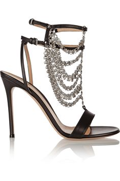 Gianvito Rossi|Chain-embellished leather sandals(=)