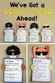 "Student goal setting and back to school bulletin board for first second and third grade. Includes printable templates letters to make the phrase ""We've Got a Bright Year Ahead!"" and goal setting questions to help students brainstorm their goals. Back To School Art, Back To School Night, 1st Day Of School, Beginning Of The School Year, Back To School Crafts For Kids, Back To School Teacher, Writing Bulletin Boards, Back To School Bulletin Boards, September Bulletin Boards"