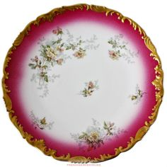 19th Century #French #Limoges #PINK #Rose #Gilt #Cabinet #Plate #T&V #enamel #handpainted #frenchgardenhousestyle