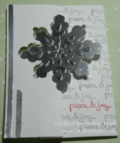 Jackie's flip card: Good Greetings, Snowflake Card Thinlits Die, and Silver Foil Paper. All supplies from Stampin' Up!