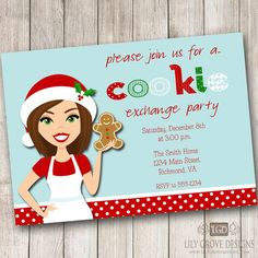Cookie Exchange Party 1 Invitation - Digital File - PRINT YOUR OWN