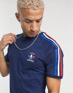 adidas Originals 3-stripe France t-shirt in navy | ASOS Adidas Originals, The Originals, New T Shirt Design, Shirt Designs, T-shirt Bleu Marine, Streetwear, Asos, Adidas Retro, Navy Blue T Shirt