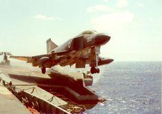 """officialyasen: """"Royal Navy's Phantom Reg. Number doing catapult launch on HMS Ark Royal. Ww2 Aircraft, Fighter Aircraft, Fighter Jets, Aircraft Photos, Military Jets, Military Aircraft, Royal Navy Aircraft Carriers, Hms Ark Royal, F4 Phantom"""